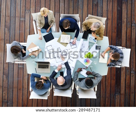 Architect Engineer Meeting Construction Design Concept - stock photo