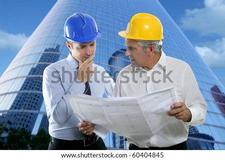 architect engineer two expertise team plan talking hardhat skyscraper buildings [Photo Illustration] - stock photo