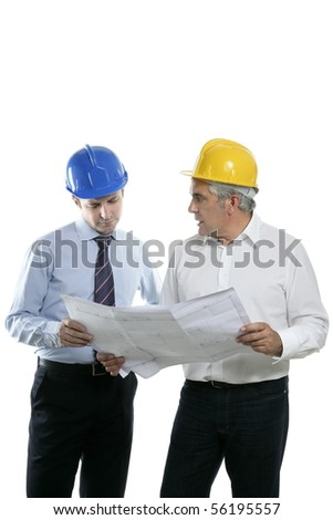 architect engineer two expertise team plan talking hardhat white background - stock photo