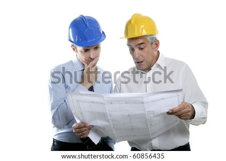 architect engineer two expertise team plan talking hardhat white background - stock photo