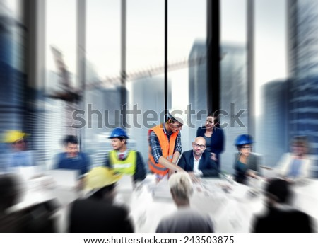 Architect Engineer Working Office Meeting Planning Design Concept - stock photo