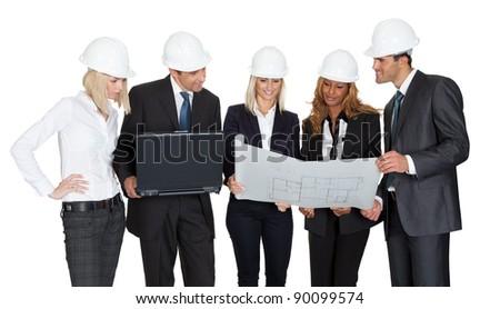 Architect group analyzing blueprints with laptop on white background - stock photo