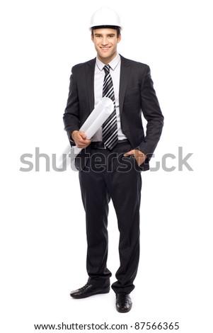 Architect holding blueprints - stock photo