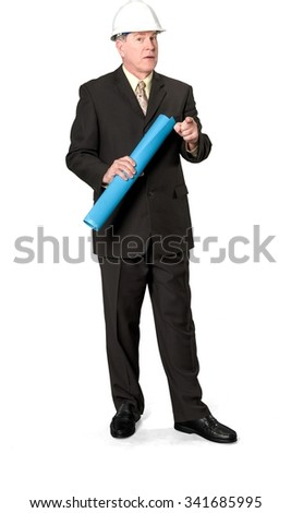 Architect in business formal outfit and hardhat holding blueprints - Isolated - stock photo