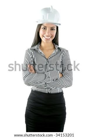 Architect indian woman portrait isolated on white background - stock photo