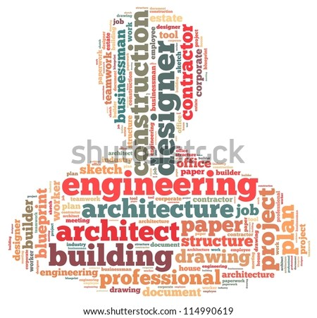 architect info-text graphics and arrangement concept on white background (word cloud)