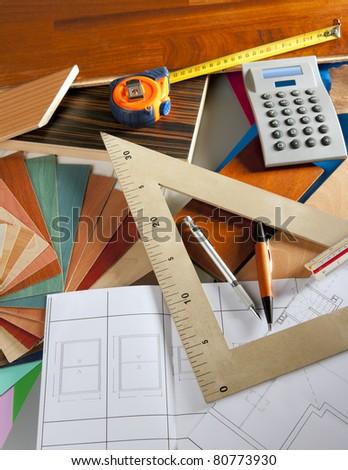 Architect interior designer or carpenter workplace with desk design tools