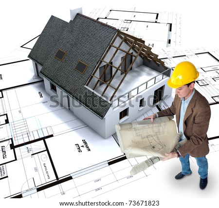 Architect looking at his plans with a house in construction and blueprints - stock photo