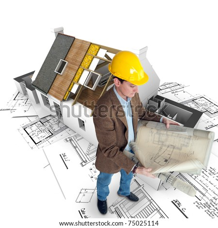 Architect looking at his plans with a house in construction and blueprints