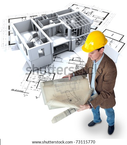 Architect looking at his plans with a roofless office / apartment structure - stock photo