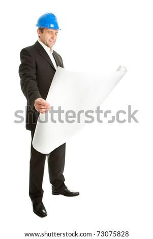 Architect looking into blueprints - stock photo