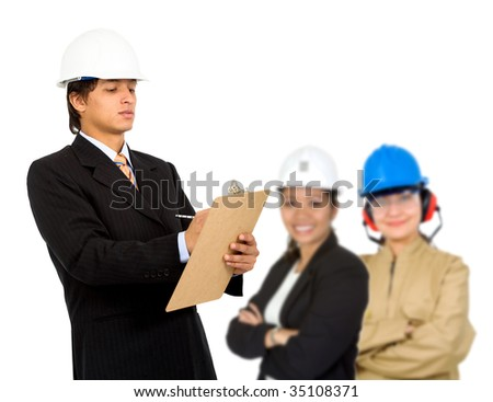 architect making notes and his team behind isolated - stock photo