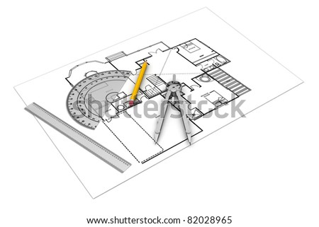 Architect plans - stock photo