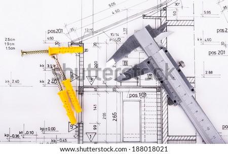 Architect project drawing blueprint - stock photo