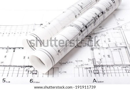 Architect project drawing blueprint - stock photo