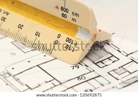 Architect s drawing tools, Architectural drawing with old scale ruler - stock photo