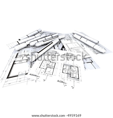 Architect's plans / blueprints displayed and rolled-up - stock photo