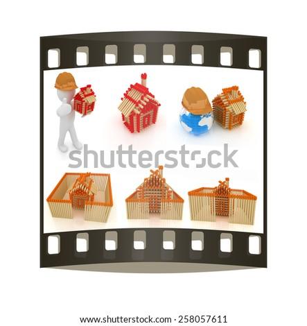 Architect set on a white background - stock photo