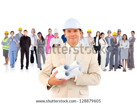 Architect standing in front of diverse career group on white background - stock photo