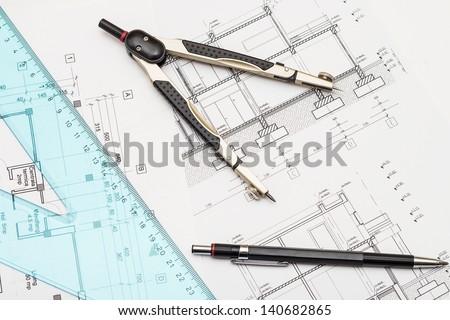 Architect Tools - stock photo