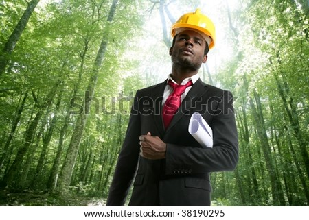 Architect with plans and helmet in an ecological forest project [Photo Illustration] - stock photo