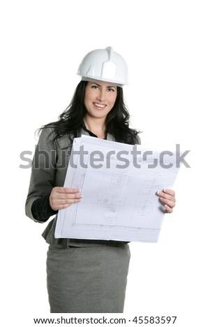 Architect woman white hardhat and plan isolated on white - stock photo