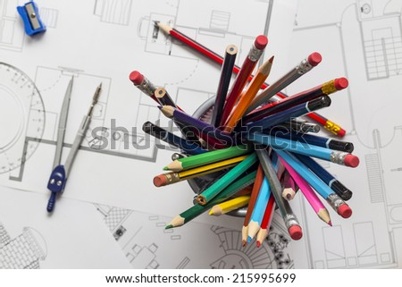 Architect working desk - stock photo