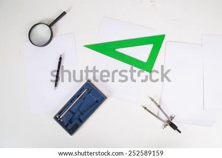 architect working on the white background - stock photo