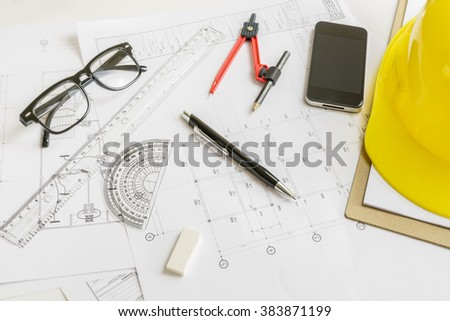 Architect working,repair, building and home concept,making changes to blueprint,for designer drawing house plan for reconstruction. Architectural project concept,selective focus,architectural drawing - stock photo