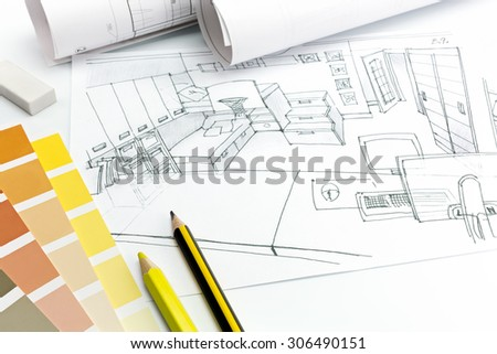 architects desk on a white background with living room picture, paper rolls and drawing materials - stock photo