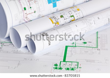 Architects drawings - stock photo