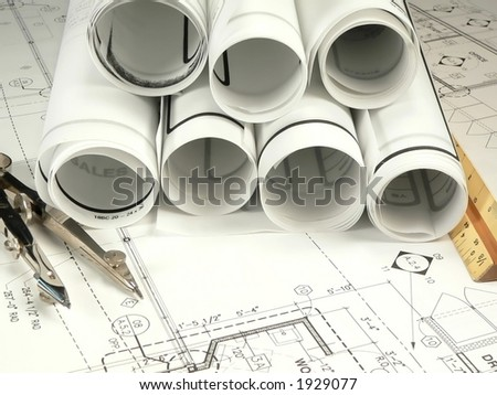 Architects Plans - stock photo