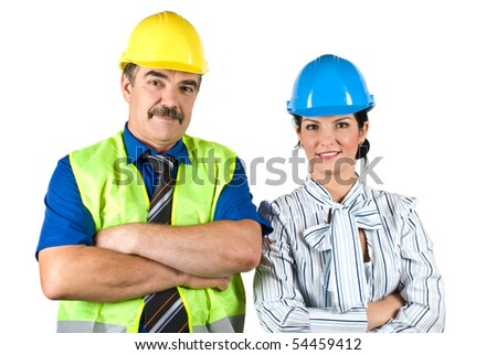 Architects team : mature architect man and young woman standing with hands crossed and smiling in front of image isolated on white background - stock photo