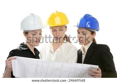 Architects woman working, isolated on white at studio - stock photo