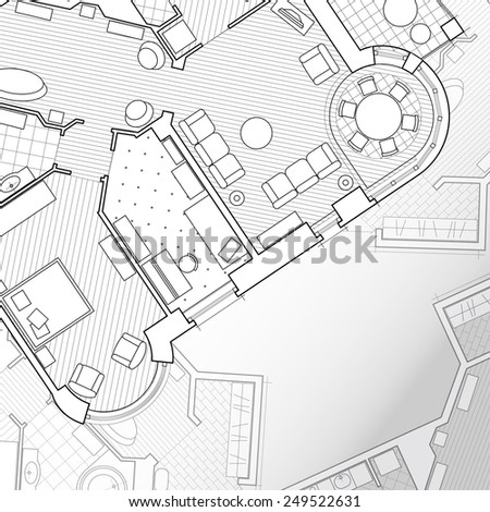 Architectural background. Flat projection with furniture. Part of detailed architectural plan, architectural project, technical project, construction plan - stock photo