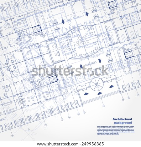 Architectural background. Gray building plan silhouette on white background.