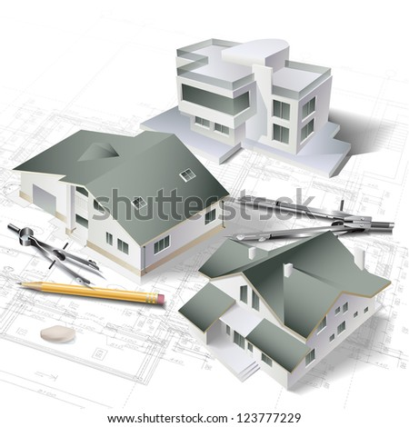Architectural background with a 3d building model and rolls of drawings. Part of architectural project - Raster version. - stock photo