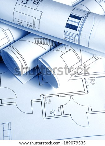 Architectural background with blueprints - stock photo