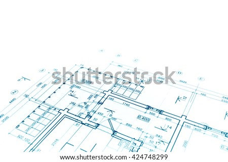 architectural background with floor plan blueprint technical drawing - stock photo