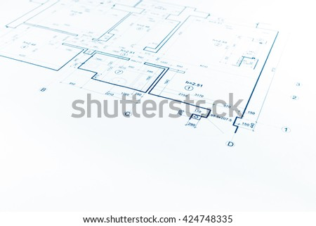architectural background with floor plan blueprint technical drawing