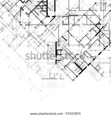 Architectural black and white background with plans of building (see eps version in my portfolio) - stock photo