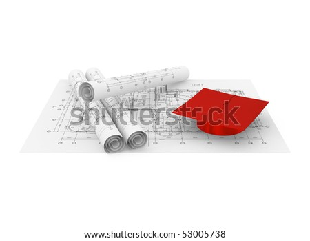 Architectural blueprint and graduation cap isolated on white - 3d illustration - stock photo