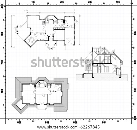 architectural blueprint. background. jpg - stock photo