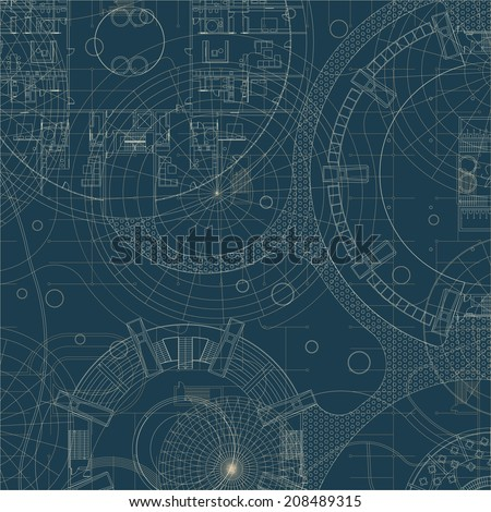 Architectural blueprint. Raster version - stock photo
