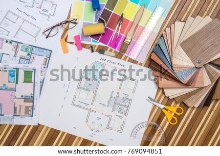 Architectural blueprint wooden paper samples draw stock photo safe architectural blueprint with wooden or paper samples and draw tools malvernweather Choice Image
