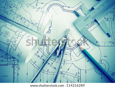 Architectural blueprints rolls - stock photo
