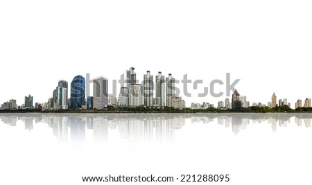 architectural building in panoramic view,city skyline isolated on white background - stock photo