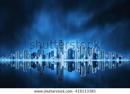 architectural building in panoramic view,city skyline  on blue sky background