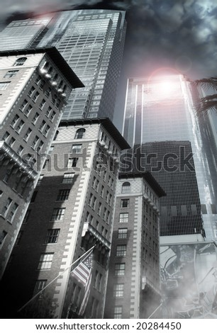 Architectural city scape of smaller brick buildings and American flag leading up to a focal point on the tops of steel reflective skyscrapers - stock photo