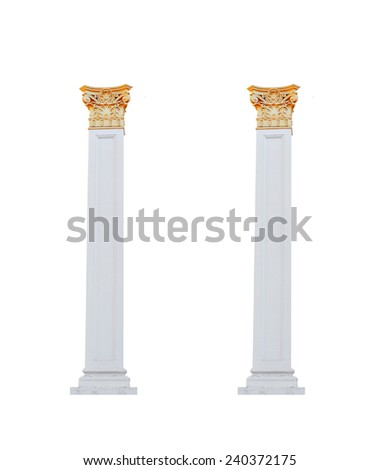 architectural columns on a white background. - stock photo
